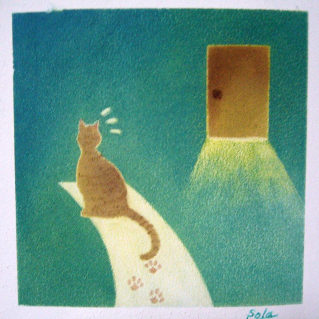 パステル画挿絵。新しいドアが開く。