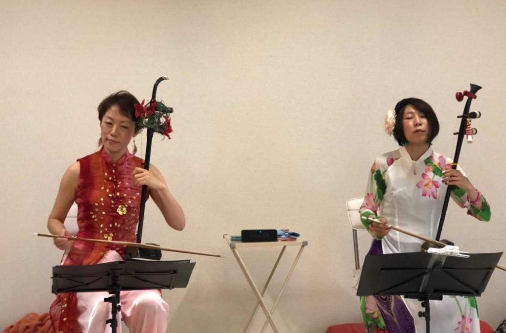 チャリティー音楽とても評判よく、皆美味しいの連呼でした。祭 二胡すみれ組