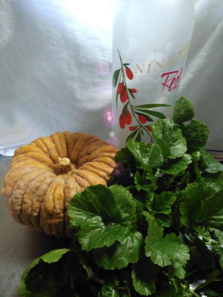かぼちゃと大根の葉