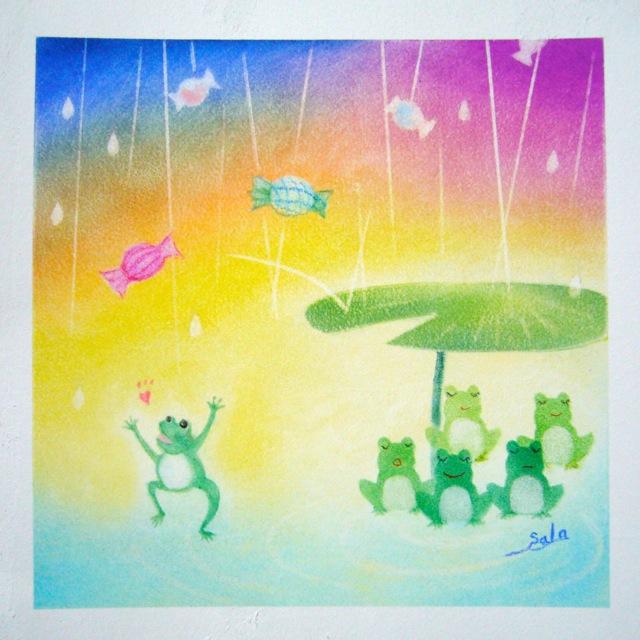 パステル画「雨と飴」