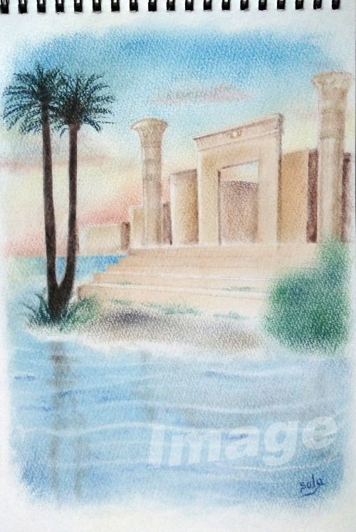 ナイル川沿いに佇む神殿(エジプト)